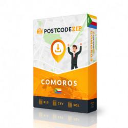 Comores, base de données des codes postaux