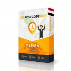 Yémen, base de données des codes postaux